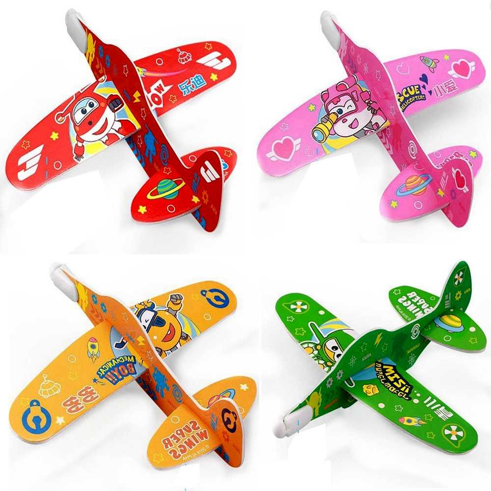 1 pcs Cartoon Super Wings Catapult Aircraft Model Cute Airplane Robot Action Figures Foam Paper Plane Model Kid Gift Toy