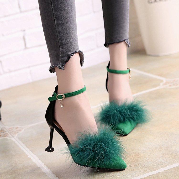 Noir Mode 2018 Style Dames Matures Pompes gris À Talons Hauts Femmes Bout Femme vert Chaussures Pointu Mazefeng Simple Solide 5aWRddB