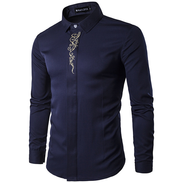 High Quality Men's Shirts 2017 Fashion Turn Down Collar Long Sleeve Embroidery Dress Shirts Men Business Work Tops Shirt S-2XL 3