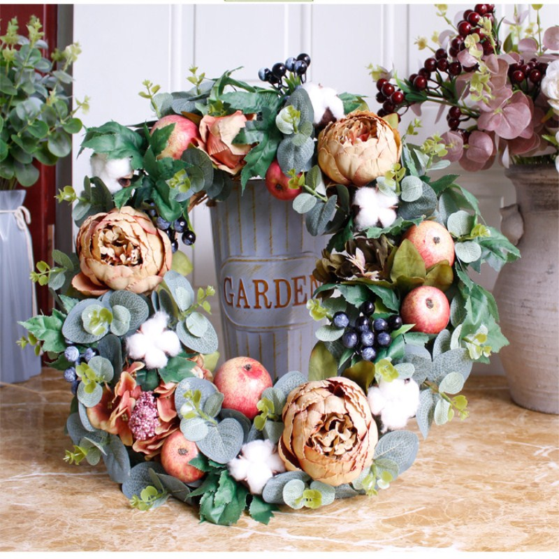 Custom made Christmas decorations: coffee colored door decorations for autumn peony wreaths and silk flowers Free Shipping