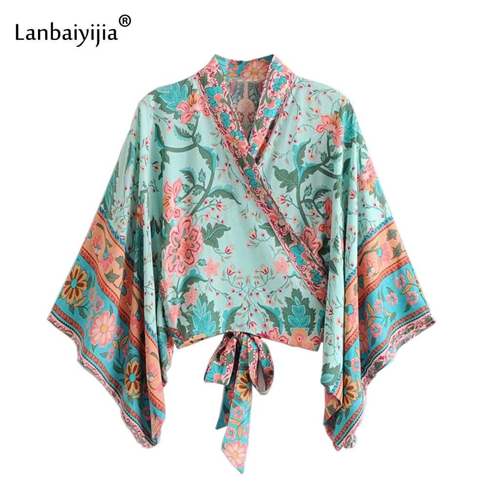 Lanbaiyijia mode bohème style Floral Kimono chemise col montant nœud à lacets manches évasées Sexy Cardigan chemises femmes Blouse