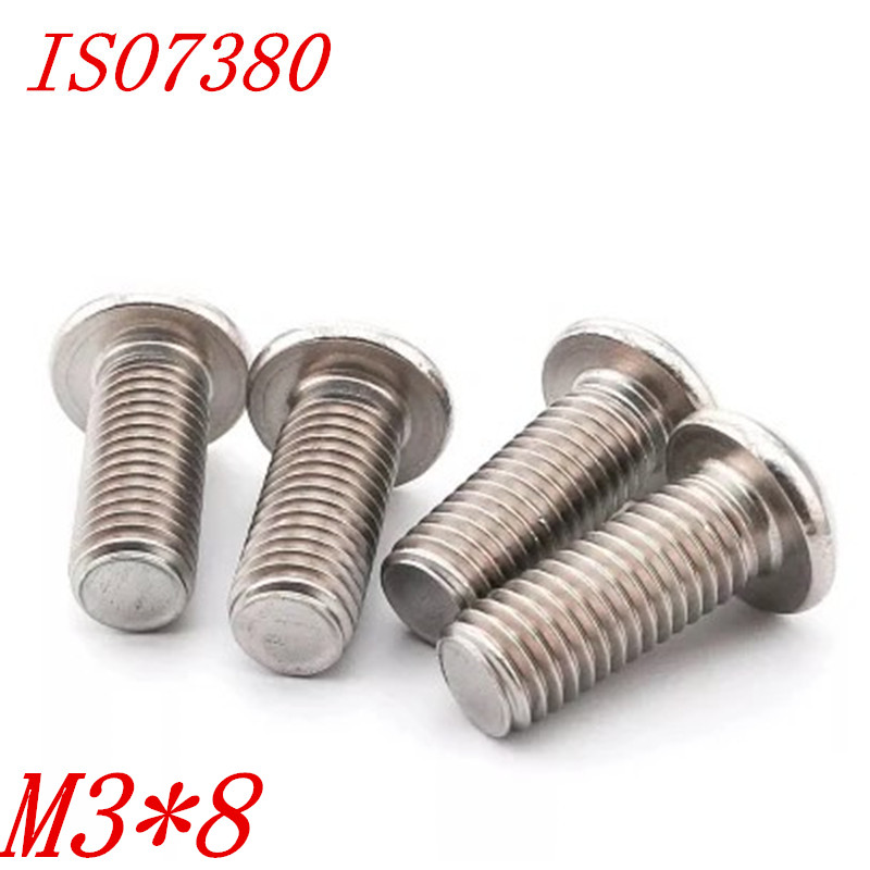 100pcs ISO7380 304 stainless steel m3*8 M3x8 hexagon button head screws Allen socket round head screw iso 100 в перми