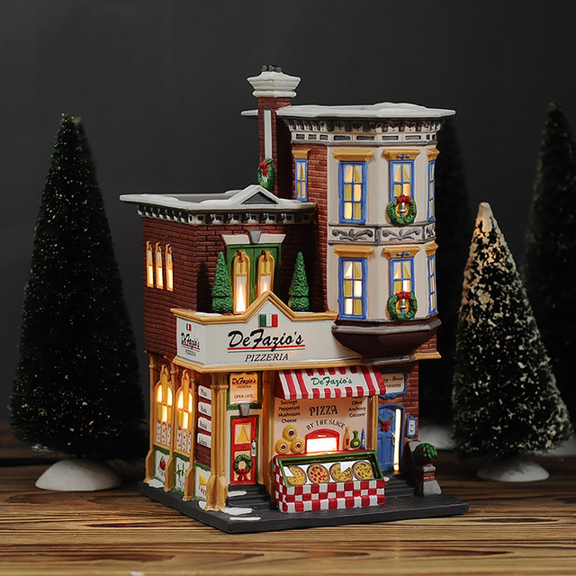 Christmas In The City Series Defazios Pizzeria Hand painted Ceramic ...