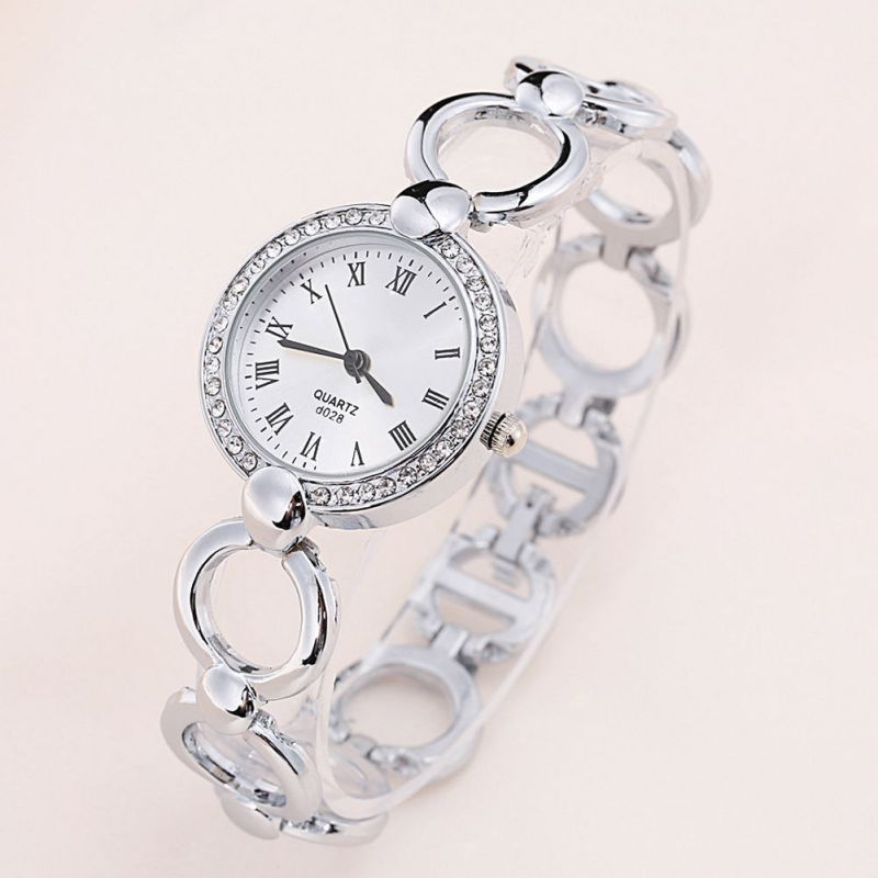 Women Lady Stainless Steel Crystal Dial Quartz Analog Wrist Watch Silver dinioh lady s stainless steel round dial