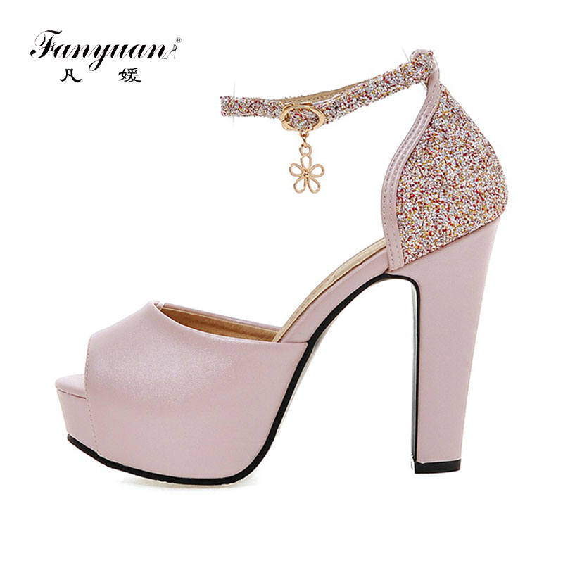 Fanyuan Women Sandals 2019 Summer Shoes Ladies Solid Color Peep Toe Ultra High Heels <font><b>10</b></font> cm Bling Cover Heel Party Dress Sandals image