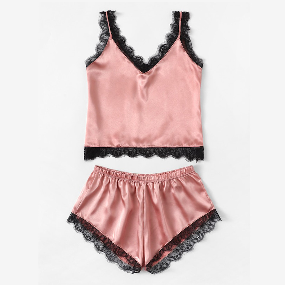 Summer Sleepwear Sexy Satin Pajamas Set Lace Cami Tops And Shorts Sleeveless Nightwear For Women