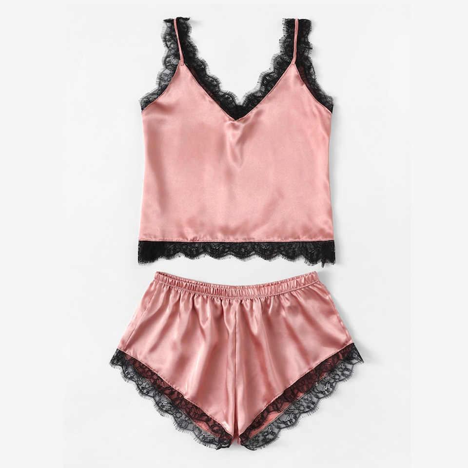d6d451cf5fc Summer Sleepwear Sexy Satin Pajamas Set Lace Cami Tops and Shorts  Sleeveless Nightwear for Women