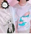 2016 harajuku каваи милый лолита сладкий розовая вода персик печати футболка хлопок белый милая девушка с коротким рукавом женщин топы