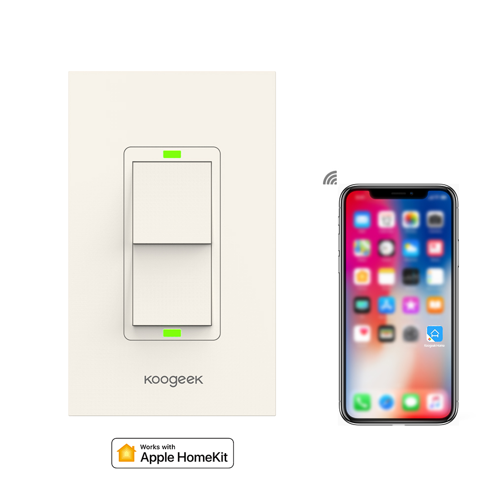 Koogeek Smart Wifi Switch Two Gang Light Switch for Apple HomeKit Siri Remote Control Wall Switch Power Consumption Monitor siri