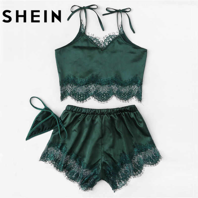... SHEIN Women Sexy Pajamas Sets Lace Silk Satin Pajamas 2018 Summer New  Style Lingerie Women Spaghetti ...