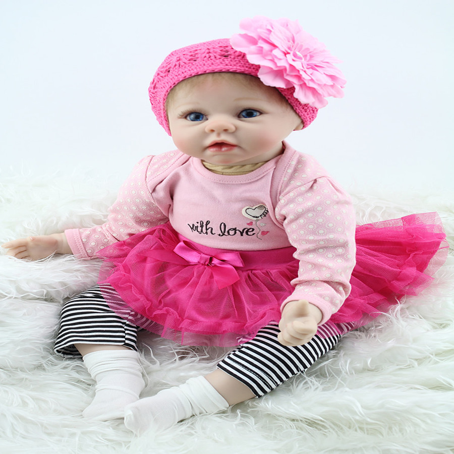 2017 Hot Sale 22inch Reborn Baby Doll Soft Silicone Girl Doll With Pink Beautiful Clothes Xmas or New Year Gift