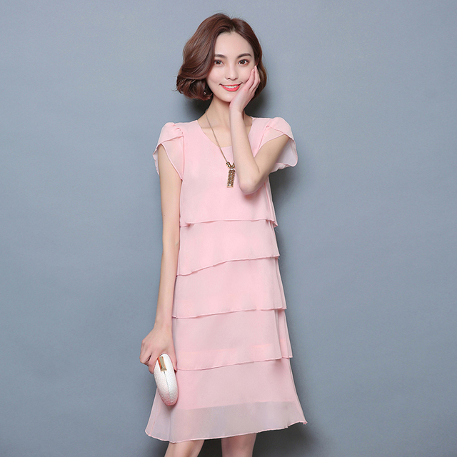 2018 New Women Summer Dress Elegant Ladies Party Cocktail Ruffles Dress Plus Size S-6XL Loose Chiffon Solid Pink Black Dress 2