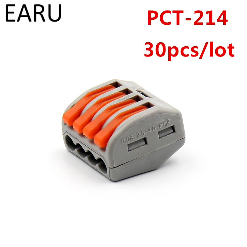 30Pcs PCT-214 PCT214 WAGO 222-414 Universal Compact Wire Wiring Connectors Connector 4 Pin conductor terminal block lever fit 50pcs 221 413 original wago connector led connector compact splicing connectors 3 conductor connector original wago terminals