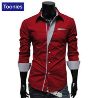 Men Long Sleeve Dress Shirts Slim Fit Men Brand Tops Clothes Patchwork Formal Business Shirt Camisa