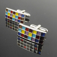 Colorful Enamel Tartan plaid squares Cufflinks Top Quality Copper Cuff Links For Men Biirthday Gift 10