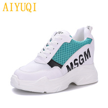 Купить с кэшбэком AIYUQI Women's casual shoes 2019 spring new cowhide + cloth women loafers , lace platform white sneakers shoes women