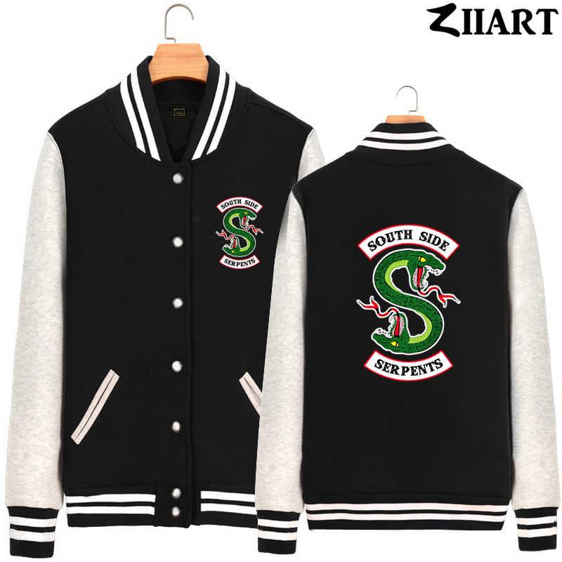 riverdale south side serpents snake Couple Clothes Girls Woman Full Zip Autumn Winter Fleece Baseball jackets ZIIART