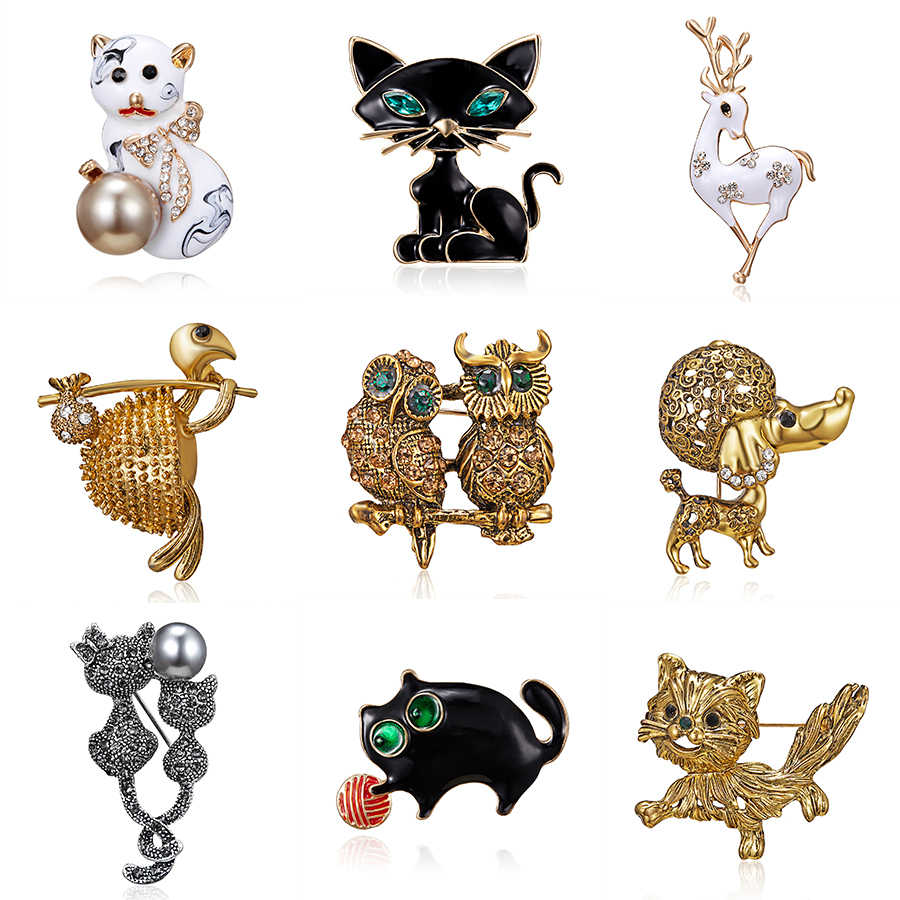 Women's Brooch Animal Cat Deer Dog Turtle Enamel Pins Brooches Rhinestone Badges Collar Dresses Frog Brooch Jewelry
