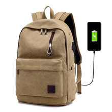 USB Charge Canvas Backpack Notebook Laptop Bag Teenagers Men Women Travle Bags Anti Theft Men Backpacks Unisex Knapsack 2017 New