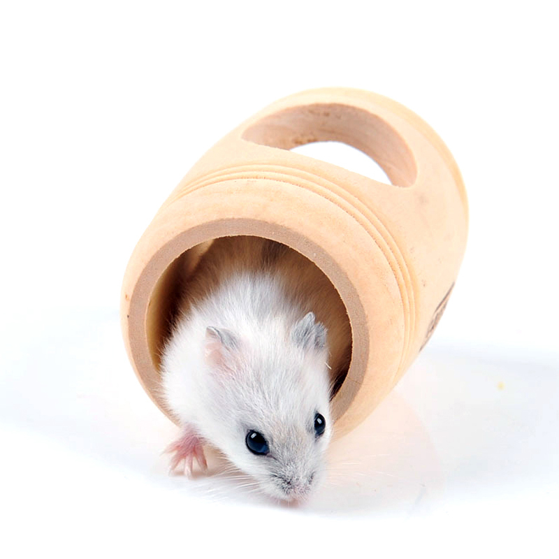 Hamster Cages small wooden barrel hamster nest Small font b pet b font nest house Cabin
