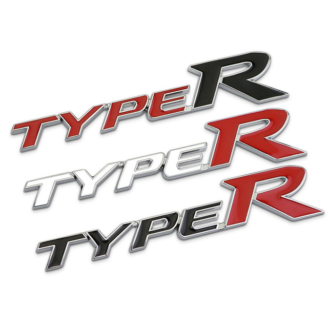 3d zinc alloy metal typer type r emblem trunk badge logo decal stickers for honda civic