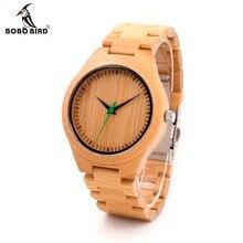 БОБО ПТИЦА Мужчины Деревянный Бамбука Часы Люкс мужская Лучший Бренд дизайнер Кварцевые Часы С Японскими Движения Bamboo Ремень в Подарок коробка