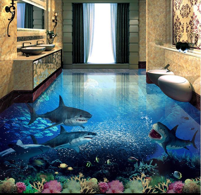 customized 3d floor painting shark 3d wallpaper living. Black Bedroom Furniture Sets. Home Design Ideas