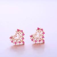 Robira 2017 New Heart Stud Earrings 14K Rose Gold Elegant Noble Natural Ruby Diamond Ladies Precious