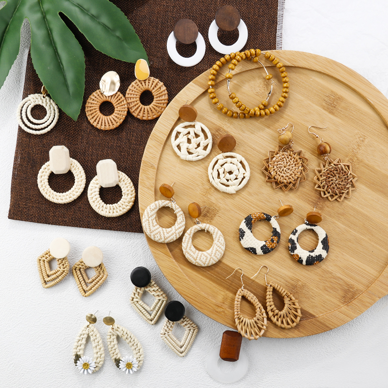 AENSOA Unique Fashion 27 Style Handmade Wood Drop Earrings For Women Bohemia Rattan Geometric Earrings Party Jewelry Wholesale