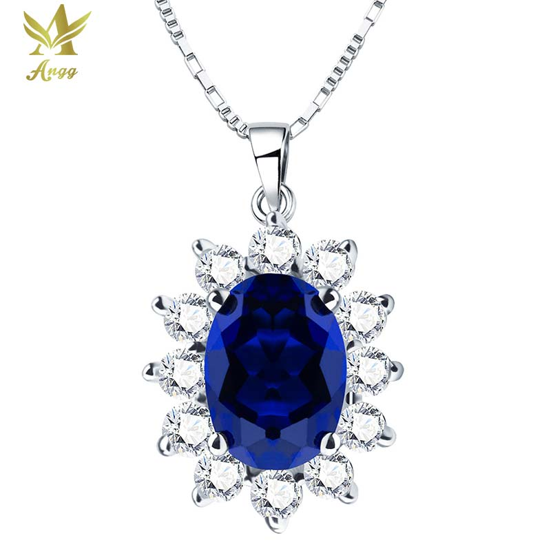 Classical 2ct Genuine 925 Sterling Silver Oval Cuts Pendant Wedding & Engagement Blue Jewelry Pendant