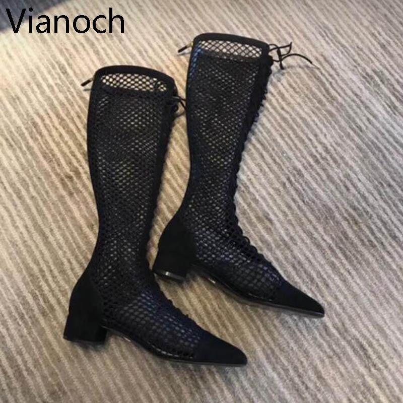 Mode nouvelles femmes sandales résille bottes genou longueur maille chaussures Sexy noir taille 40 aa0507