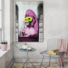 Banksy Gorilla Graffiti Street Art Abstract Animal Canvas Painting Poster Print POP Wall Pictures for Living Room Home Decor