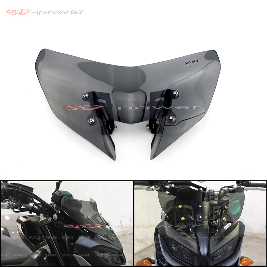 Windshield For YAMAHA MT-09 FZ-09 2017 2018 2019 Windscreen Pare-brise Motorcycle Accessories Wind Deflectors MT09 FZ09 MT FZ 09 18mm 20mm 21mm 22mm new mens black brown alligator leather watch strap band deployment watch buckle