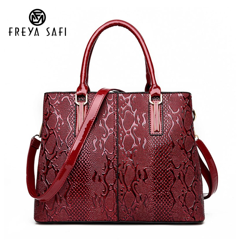 35ed8efeed4e Freya Safi Fashion Serpentine Ladies Hand Bags Pu Leather Luxury Handbags  Women Bags Designer Big Capacity Women Crossbody Bag