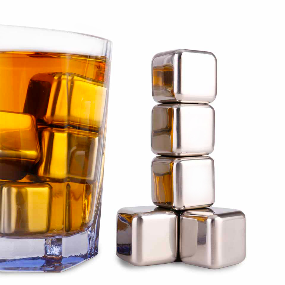 Stainless Metal Ice Cubes Reusable Whiskey Stones Beverage Cooler Drink Chiller