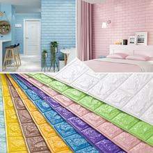 PE Foam 3D Wall Stickers Brick Pattern Waterproof Self Adhesive Wallpaper Room Home Decor For Kids Bedroom Living Room Stickers