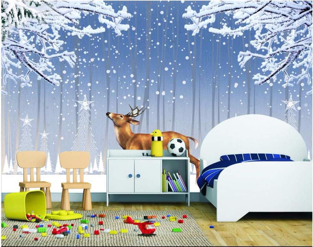3d photo wallpaper custom mural picture Snowflakes elk children room decoration painting 3d wall murals wallpaper for walls 3 d custom baby wallpaper snow white and the seven dwarfs bedroom for the children s room mural backdrop stereoscopic 3d