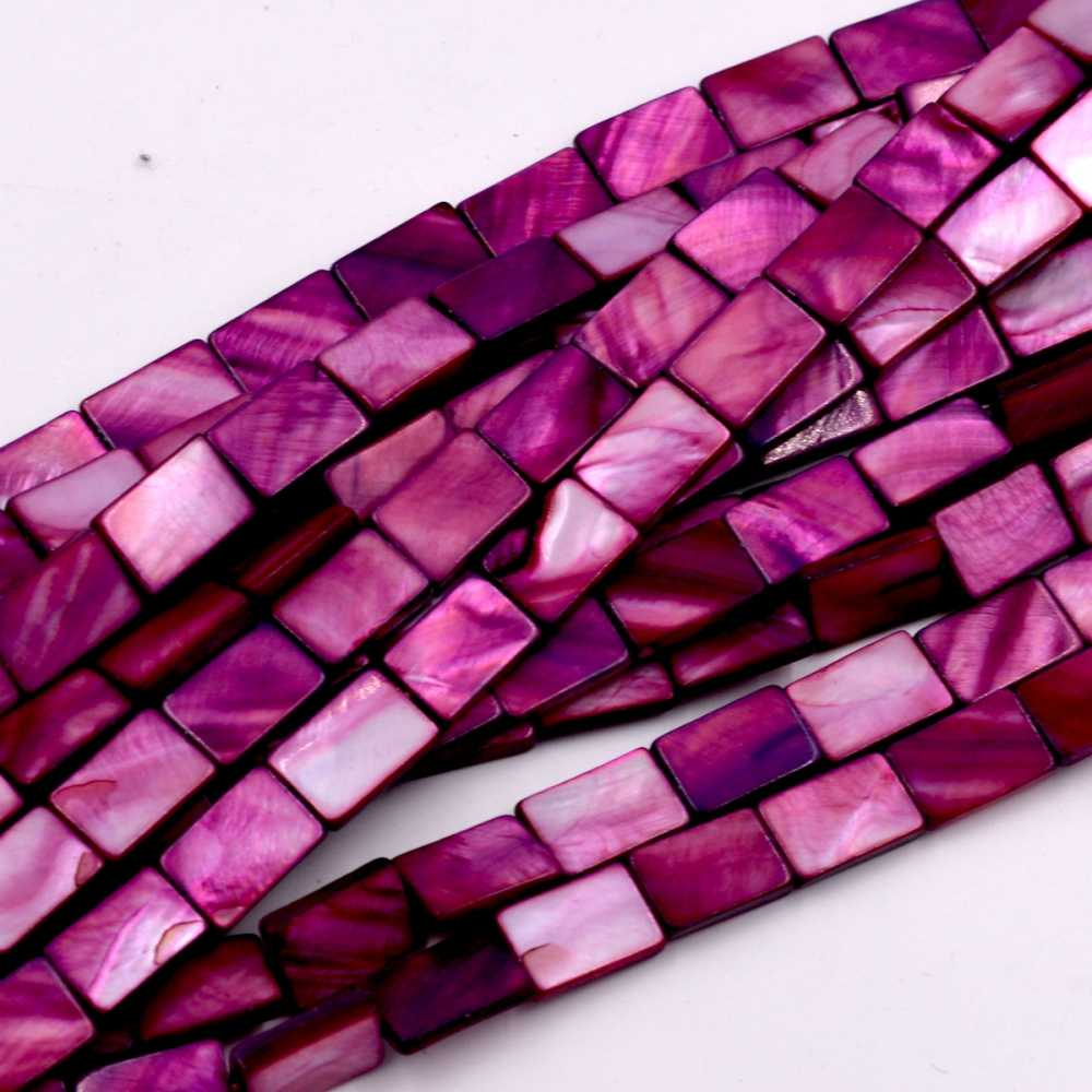 10mm Nautral Purple Shell MOP Rectangle Shape Gems Loose Beads Strand