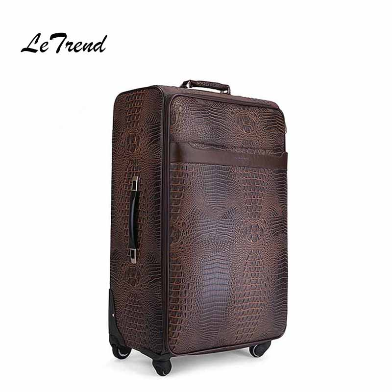 Spinner Rolling Luggage Men Business Wheel Suitcases Crocodile pattern High-end Trolley Cabin Travel Bag black travel bag spinner suitcases wheel trolley business rolling luggage large capacity carry on cabin luggage backpack