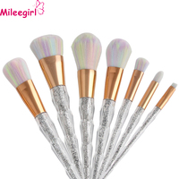 Mileegirl Makeup Brush Set 7pcs Unicorn Rainbow Diamond Face Eye Professional Foundation Make Up Brush Kit