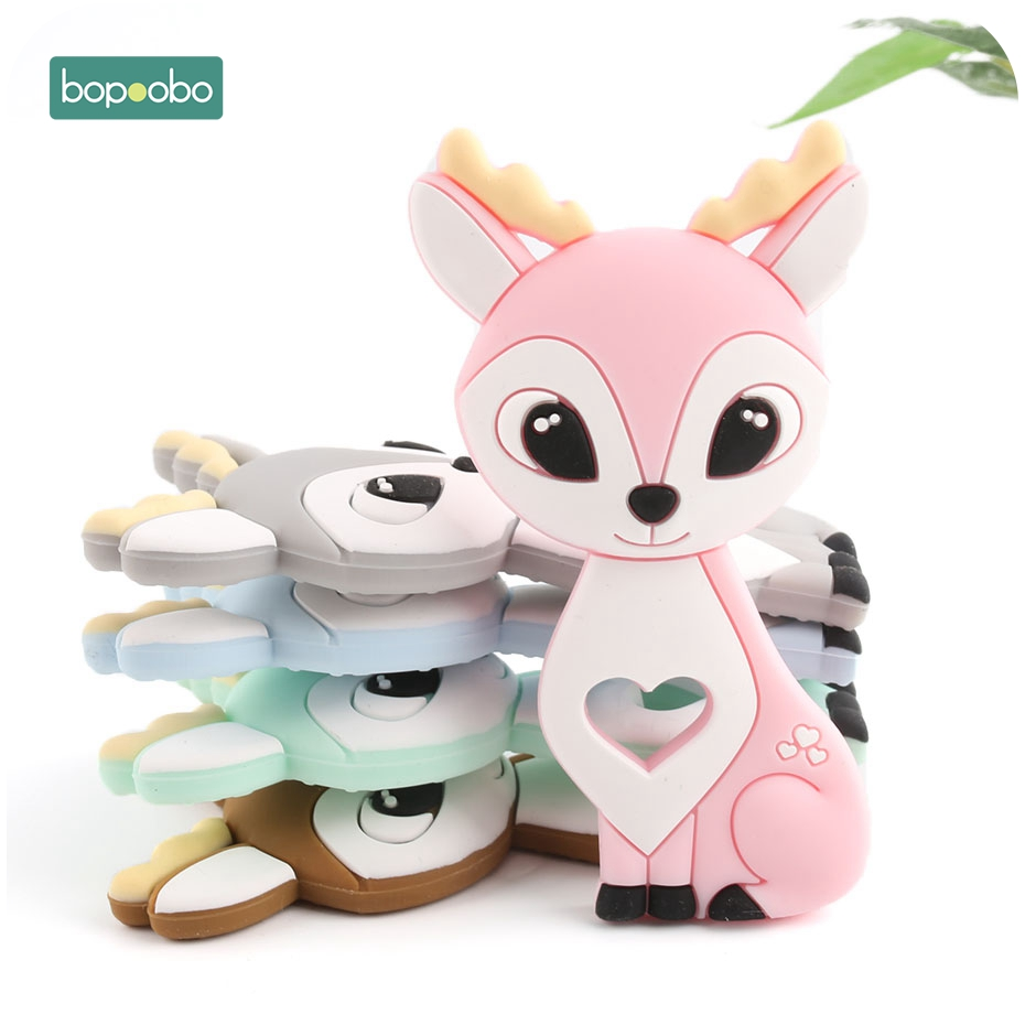 Bopoobo 1pc Silicone Sika Deer Teether Silicone Teething Pendant Silicone Christmas Nursing Gifts Silicone Rodents Baby Teether