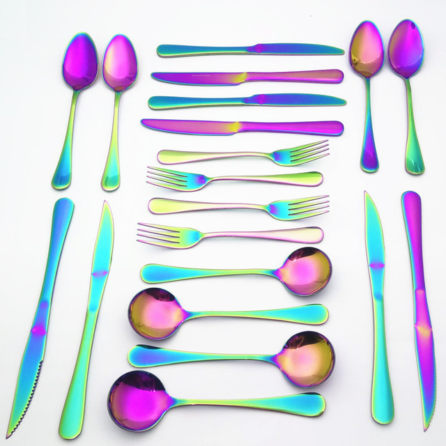 Rainbow Flatware Colorful Steak Knife Dinner Fork 4pcs/Set Fancy Suit Mirror Polished Stainless Steel Colorful Dinnerware Set