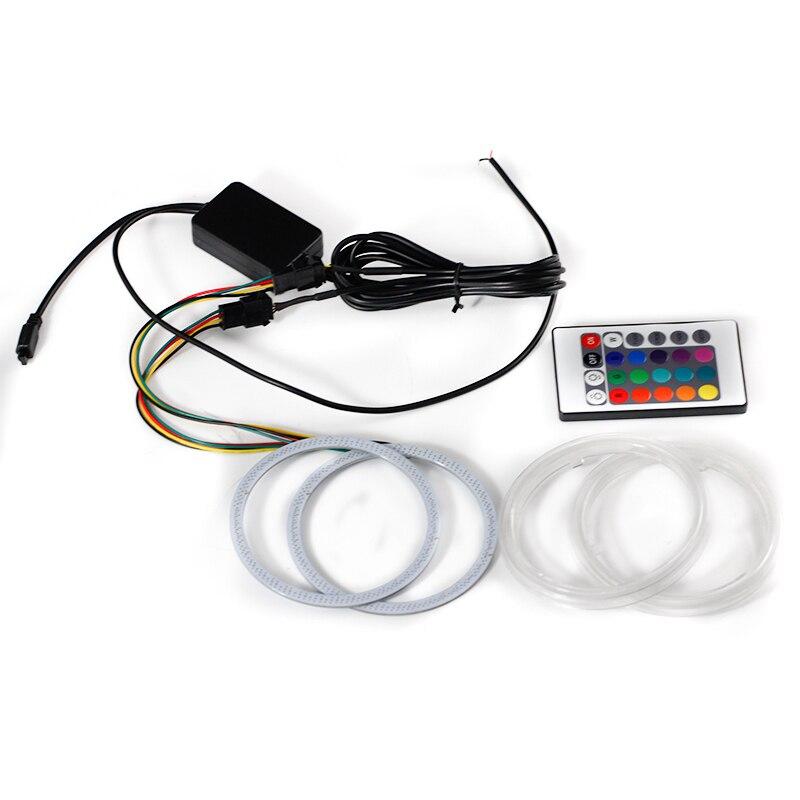100мм dc12 с-24В дневного света цвета RGB cob Ангел глаз кольцо пульт дистанционного управления автомобиль Stying