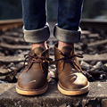 2016 New Genuine Leather Men Boots Fashion Warm Ankle Boots Shoes Men For Autumn Winter Man Shoe Flat Martin Boots Size 38-44