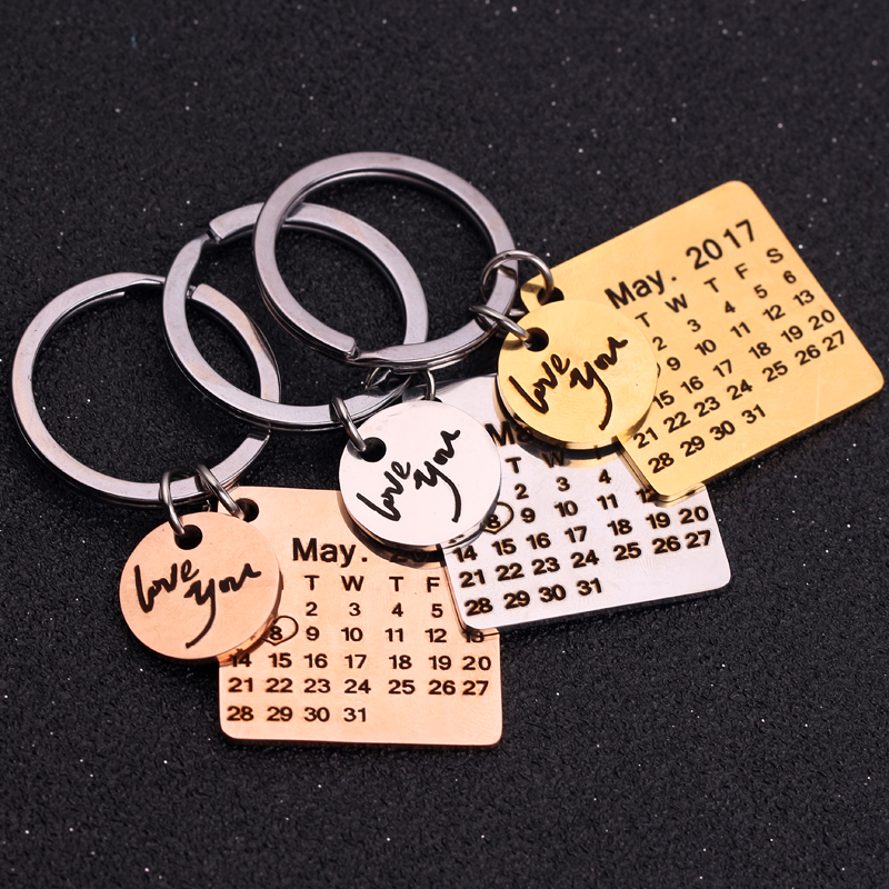 d2e4083f67ba Personalized Calendar Key Chain Custom Gift Engraved Heart Date Name  Stainless Steel Key Ring Gifts For
