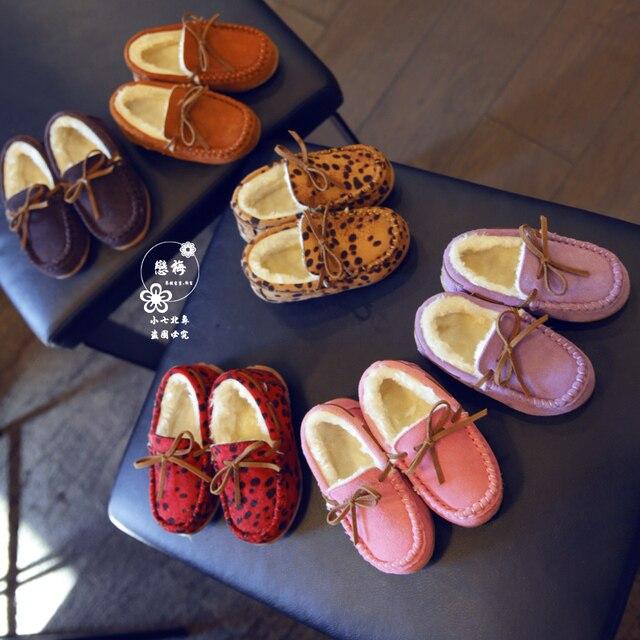 2015 оптовая продажа осенний и зимний мужской девочка хлопка обувь мода леопарда европейский стиль плюс хлопка кожаные ботинки