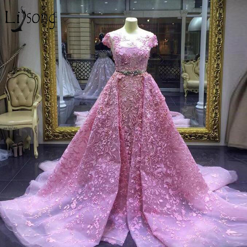 Gorgeous Embroidery Pink   Evening     Dresses   2018 Abiye Saudi Arabic A-line Lace   Evening   Gowns Sparkle Crystal Sash Abendkleider