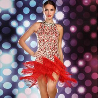 Black White Blue Purple Red Women Lady Ballroom Salsa Dance Dress Latin Fringe Dress