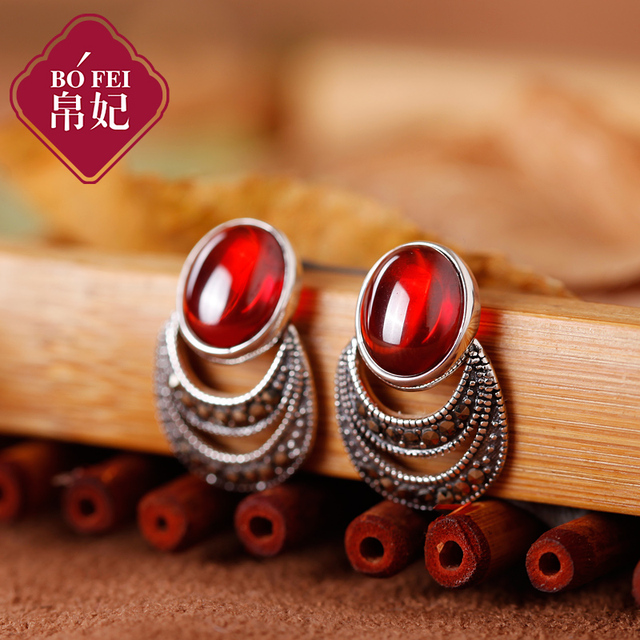 2017 new s925 silver Natural Green Agate Moon Earrings fruit Garnet earring Women Fairy jewelry accessories wholesale gift