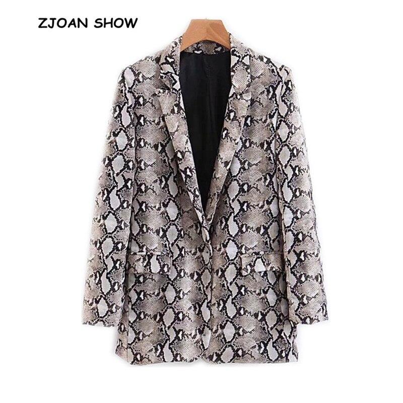 Блейзер в стиле ретро с принтом «бойфренд» со змеиным принтом, новинка 2018 года, Женский костюм с двойным карманом средней длины, повседневная куртка, Свободное пальто, верхняя одежда